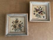 Antique Needlepoint Floral Beige Pansy Daisy Vintage Framed Pair Pictures 8