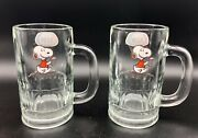Lot Of 2 Vintage A And W Root Beer Mug W/ Charle Schulz Snoopy 12 Oz 6 Tall