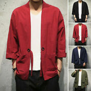 Menand039s Clothing Vintage Loose Cotton Coats Kimono Outwear Shirt Tops