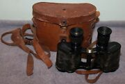 Antique Wwi Crown Optical Military Stereo 6x30 Binoculars W/leather Case