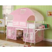 Metal Frame Fairy Tent Bunk Bed With Fabric Covering White And Pink