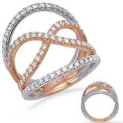Estate Large .84ct Diamond 14kt White And Rose Gold 3d Infinity Love Ring