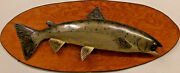 A Fine Carved And Painted Leaping Salmon By Lawrence C. Irvine 1918-1998 Winthr