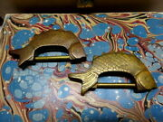 Antique/vintage Pair Of Quality Chinese Fish Locks Brass/bronze And Keys Tassels