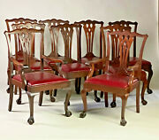 Set Of 9 Antique Chippendale Carved Mahogany Ball And Clawfoot Dining Chairs.