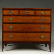 Exceptional And Beautiful Federal Cherry Tiger Maple And Mahogany Chest Of Drawers.