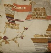 Vintage 60s 70s Mid Century Textured Drapery Fabric 5 Yards Tan Gold Brown