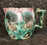 Etruscan Majolica Shell And Seaweed Art Pottery Pitcher - Excellent