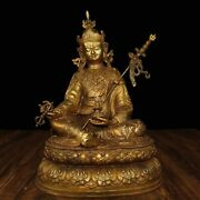 15and039and039 Bronze Copper Gilt Indian Buddhism Guru Rinpoche Padmasambhava Buddha