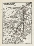 1934 Antique Delaware And Hudson Railroad System Map Vintage Railway Map 8692