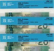 Lot 3 Consecutive Serie Number Andndash 2008 Bank Of Canada 20. Dollars Cccs Unc 60-63