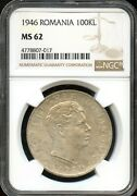 1946 100kl Ngc Ms 62mint State 62 Romania Fw64