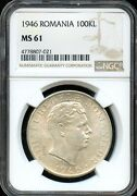 1946 100kl Ngc Ms 61mint State 61 Romania Fw67