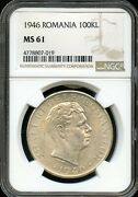 1946 100kl Ngc Ms 61mint State 61 Romania Fw68