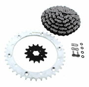 Cz Atv X Ring Chain And Silver Sprocket 14/40 100l Fits 1997-00 Yamaha 350 Warrior