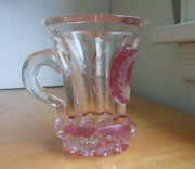 1870s Cut Glass Fancy Mug Cranberry Stained Engraved Roses Panel Applied Handle
