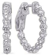 1.13ct Diamond 14k White Gold 3d Shared Prong Inside Out Huggie Hanging Earrings
