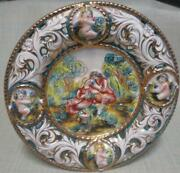 Vtg Capodimonte Porcelain High Relief Wall Plate 9 3/4 Romancing Couple