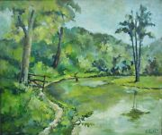 Antique Oil On Canvas Nature Painting Listed Pennsylvania Artist Earl Blust