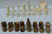 Bone Chess Pieces, Egyptian Handcarved Chess Set, Board Game, 4 Inch King
