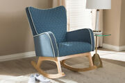 Baxton Studio Zoelle Mid-century Modern Blue Fabric Upholstered Natural Finis...
