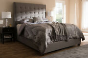 Baxton Studio Georgette Modern And Contemporary Light Grey Fabric Upholstered...