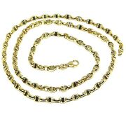 18k Yellow White Gold Chain Sailor's Nautical Mariner Big Oval 4mm Link, 24