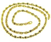 18k Yellow Gold Chain Sailor's Nautical Navy Mariner Big Oval 4mm Link 60cm 24