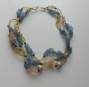 Vtg Antique Aquablue Sea Glass African Maroccan Trade Beads Necklace Tribe Craft