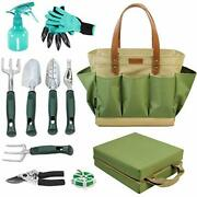 Garden Tool Tote Solid Bag Kit With 11 Piece Hand Tools.
