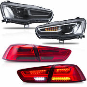 Vland Modded All Black Headlights+red Smoked Taillights For 08-17 Lancer