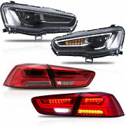 Vland Modded All Black Headlights+red Clear Taillights For 08-17 Lancer