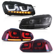 Vland Headlights+red Smoked Taillights For 10-13 Golf Mk6 12-13 Golf R