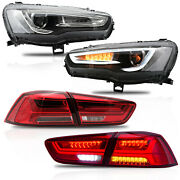 Vland Spray Lacquer Headlights+red Clear Taillights For 2008-2017 Lancer