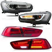 Vland Modded Spray Lacquer Headlights+red Smoked Taillights For 2008-2017 Lancer