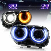 Multicolor Rgb Led Headlights W/drl Ring Turn Signal For Challenger 2015-2020