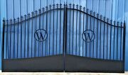 Custom Built Steel / Iron Driveway Entry Gate 14 Ft Wide Dual Swing Residential