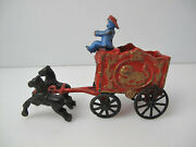 Vintage Cast Iron Horse Drawn Circus Wagon Carriage With Driver Antique Toy