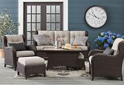 Outdoor Patio Furniture Seating Set Tile Coffee Table 2 Chairs Ottomans Sofa