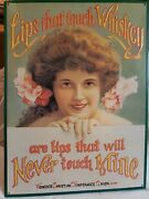Vintage Lips That Touch Whiskey Tin Sign Women's Christian Prohibition Of 1906