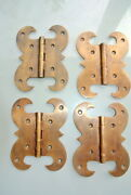 4 Hinges Heavy Vintage Old Style Cast Solid Brass Door Box Restore Heavy 5 B
