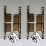 4 Lift Off Brass Door French Small Hinges Old Age Style Restoration Heavy 5 B