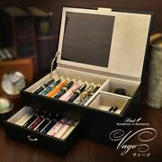 Fountain Pen Genuine Leather Collection Boxes Vago For 16 Pieces Storage