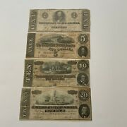 1863-64 Virginia Set Of 4 Confederate States Of America Obsolete Currency