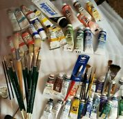 Grumbacher Vintage Set Of Pre-tested Oils And Brushes Winsor And Newton Weber Lot