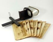 Antique Monarch Stereo Optic Viewer With Eight Geographic Cards Circa 1897