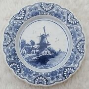 Delft Blue Made In Holland Hanging Windmill Plate Scalloped Edges