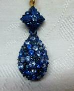 Scarce Joan Rivers Blue Rhinestone Egg And Gold Chain Necklace  Blue Enhancer