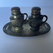 Vintage Salt And Pepper Shakers And Tray Occupied Japan Metal 1945-1951