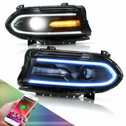 Multicolor Rgb Led Dual Beam Headlights W/drl For Dodge Charger 2015-2020